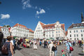 Tallinn market town toursists and shoppers in tallin estonia in summer Royalty Free Stock Photo