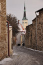 Tallinn medieval old town estonia lane in the of winter scene Royalty Free Stock Image