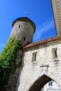 Tallinn medieval tower part of the city wall estonia Stock Images