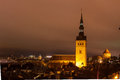 Tallinn night old town view christmas of the city of estonia Royalty Free Stock Photos