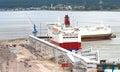Tallinn passenger port with ships Stock Photo