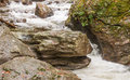 Tallulah river rapids on the headwaters of the carves out rock Royalty Free Stock Photography