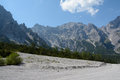 Talus and peaks in wimbachtal valley in alps in germany trees Stock Photography