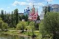 Tambov embankment of tsna river russia with kazan cathedral and church john the baptist Stock Photo