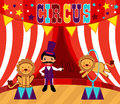 Tamer and lions circus performance Stock Photo