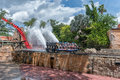 TAMPA, FLORIDA - MAY 05, 2015: Attractions in Busch Gardens Tampa Bay. Florida. Water Splash. Royalty Free Stock Photo