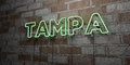 TAMPA - Glowing Neon Sign on stonework wall - 3D rendered royalty free stock illustration Royalty Free Stock Photo