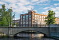 Tampella building in tampere finland exterior of on waterfront on sunny day Stock Photos