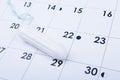 Tampon on calendar Royalty Free Stock Photo