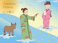 Tanabata legend milky way couple and cow hand drawn japanese folklore Royalty Free Stock Photos