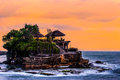 Tanah lot bali hindu temple or pura of hdr image during sunset Stock Photos