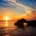 Tanah lot temple sunset bali island indonesia Royalty Free Stock Photos