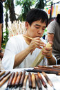 Tanaka from Japan was carving wood Stock Image