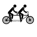 Tandem bicycle over white background illustration Stock Photo