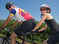 Tandem cyclists Stock Images
