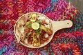 Tandoori Tadka made of warm Tandoori tofu and lentil sprouts with crisp naan bits Royalty Free Stock Photo