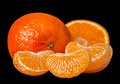 Tangerine on black Royalty Free Stock Photo