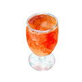 Tangerine juice in glass, watercolor illustration isolated on white.
