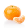 Tangerine or mandarin and segment on white clipping path included Royalty Free Stock Photos