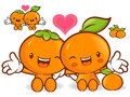 Tangerine and orange character couples are welcome to sit fruit design series Stock Photography