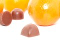 Tangerines and chocolate Royalty Free Stock Images