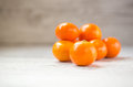 Tangerines ripe orange on white wood table Stock Photography