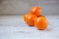 Tangerines ripe orange on white wood table Stock Photography