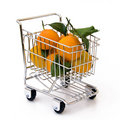 Tangerines in shopping cart Stock Photo