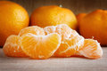 Tangerines on wood closeup background Royalty Free Stock Photo