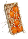 Tangerines in a wooden box Royalty Free Stock Image