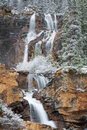 Tangle falls in winter view of creek jasper national park alberta canada Stock Photos