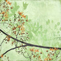 Tangled Blossom Border on Antique Paper Royalty Free Stock Photo