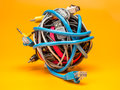 Tangled roll of wires Royalty Free Stock Photo
