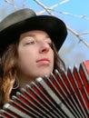 Tango musician with bandoneon Stock Image