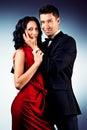 Tango pair beautiful young couple in love dancing passionate dance studio shot Stock Photos