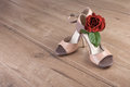Tango shoes text space argentine with a rose on wooden floor Royalty Free Stock Images