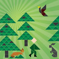 Tangram forrest Royalty Free Stock Photography