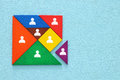 tangram puzzle blocks with people icons ,human resources and management concept. Royalty Free Stock Photo