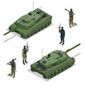 Tank american and soldiers. Vector isometric illustration. Royalty Free Stock Photo