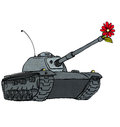 Tank flower old with a in gun muzzle Royalty Free Stock Photos