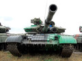 A tank is a front view picture done during manoeuvres on ground Royalty Free Stock Image