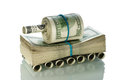 Tank made american dollars Royalty Free Stock Photo