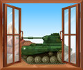 A tank near the window illustration of Royalty Free Stock Images