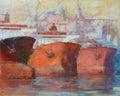 Tanker ships modern handmade paintings oil on canvas Stock Images