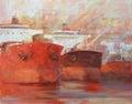 Tanker ships modern handmade paintings oil on canvas Stock Photos