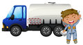 A tanker and a young man illustration of on white background Stock Image