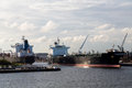 Tankers in fort lauderdale massive an urban industrial port Royalty Free Stock Photo