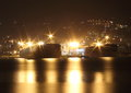 Tankers in the night waiting for filling of tanks oil port of genoa Royalty Free Stock Images