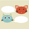 Tanking cats illustration of cartoon talking with blank balloon Stock Photography