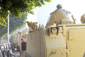 Tanks in cairo egypt army deployed amid tension Stock Photo